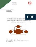 La Mediacion en El Proceso Penal, Mediation in Criminal Proceedings.