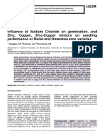 Influence of Sodium Chloride on germination, and Zinc, Copper, Zinc-Copper mixture on seedling performance of Dorke and Omankwa corn varieties