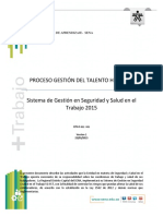 Sg-sst. Proceso Talento Humano