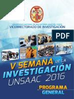 Programa v Semana de La Investigacion - Unsaac 2016