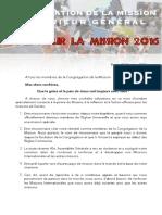 Appel Missionnaire - Octobre 2016 [FRANÇAIS]