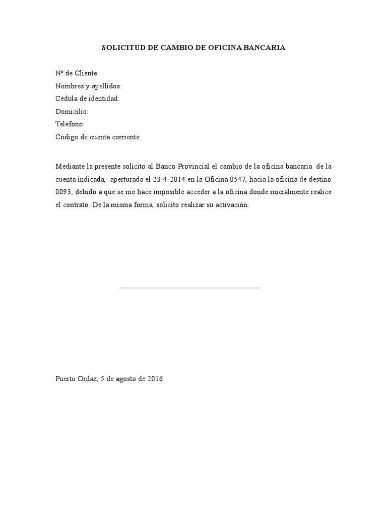 Solicitud de cambio de oficina bancaria 1 for Oficina de cambio
