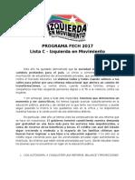 Programa Izquierda en Movimiento a la FECh 2017 - Por el triunfo de la Educación Pública