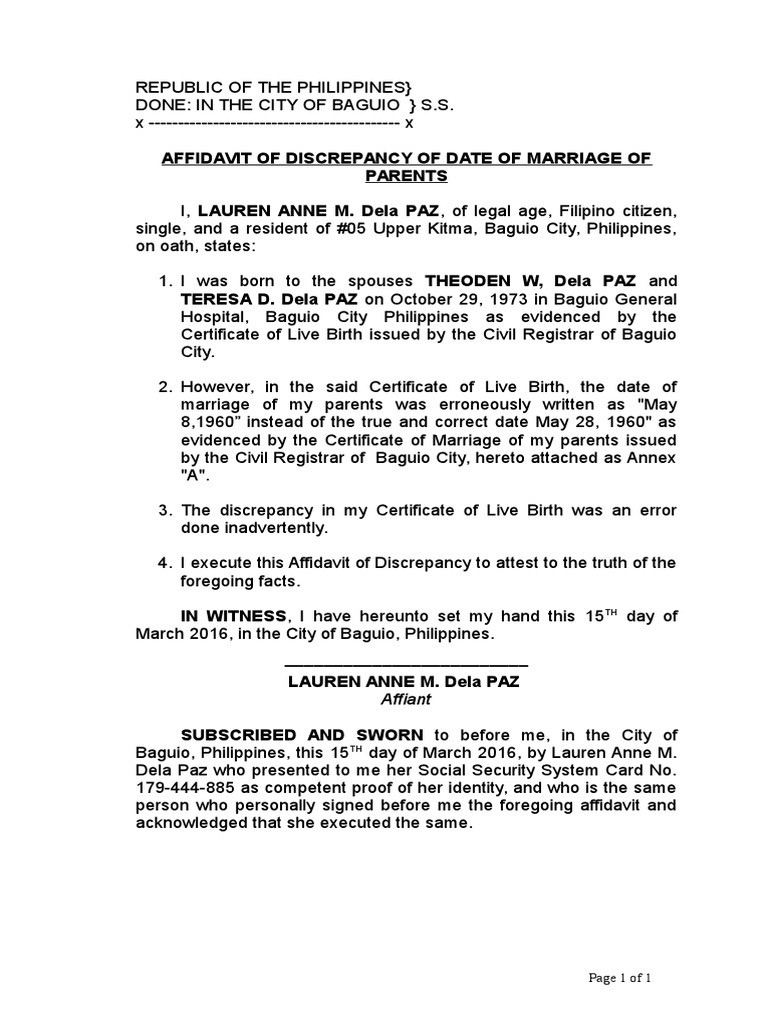 7 Affidavit Of Discrepancy Date Of Marriage Of Parents Docx