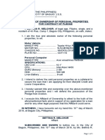 20. Affidavit of Ownership of Personal Properties for Contract of Pledge.docx