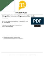 Alberto Moreiras. Infrapolitical Literatura. Hispanism and the Border