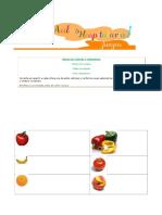 Bingo Frutas y Verduras