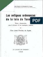 PERAZA (1935), Las Antiguas Ordenanzas de Tenerife