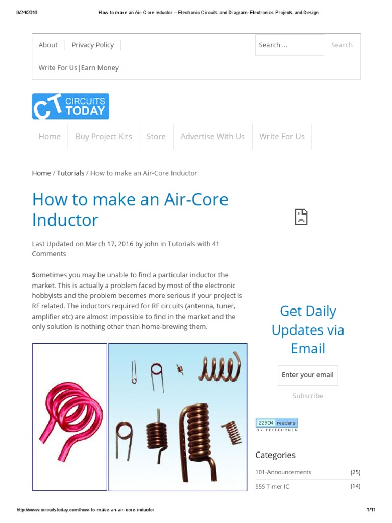 How To Make An Air Core Inductor Electronic Circuits And Diagram Stereo Fm Transmitter Diagramelectronics Electronics Projects Design Inductance