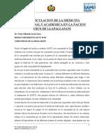 La Articulacion de La Medicina Tradicional y Academica en La Nacion Urus de Llapallapani