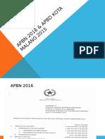 Apbn 2016 & Apbd Kota Malang 2015