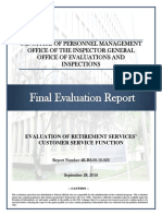 Evaluation of Retirement Services' Customer Service Function