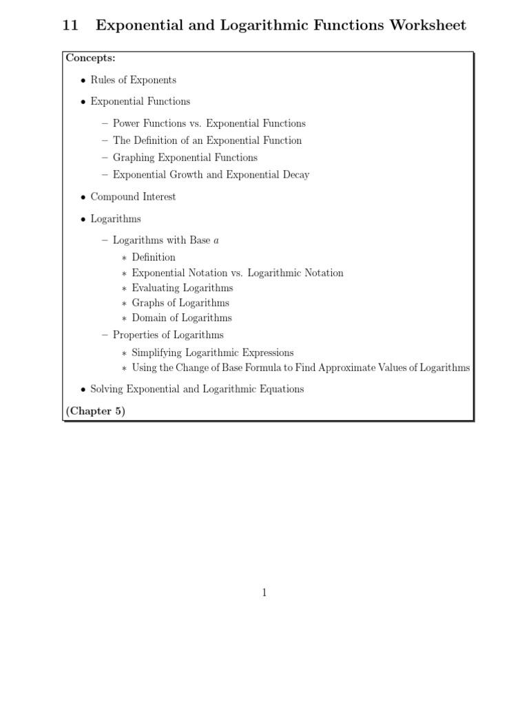 Worksheets Logarithmic Functions Worksheet exponential worksheet solution logarithm exponentiation