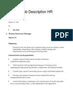 Sample Job Description HR Manager