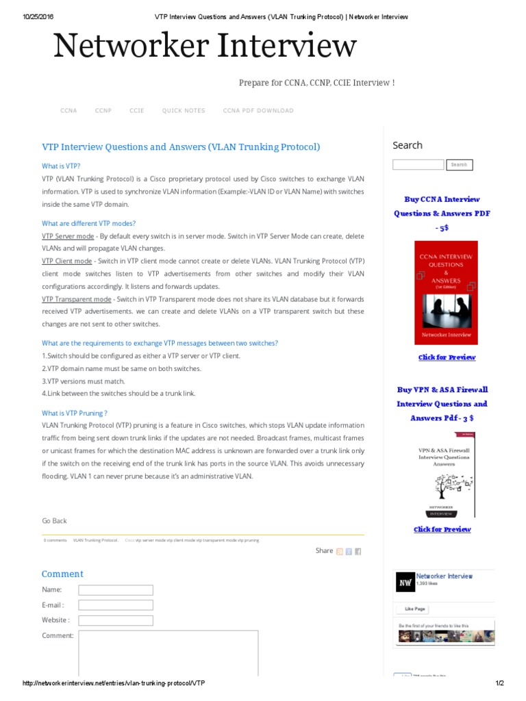 VTP Interview Questions and Answers (VLAN Trunking Protocol
