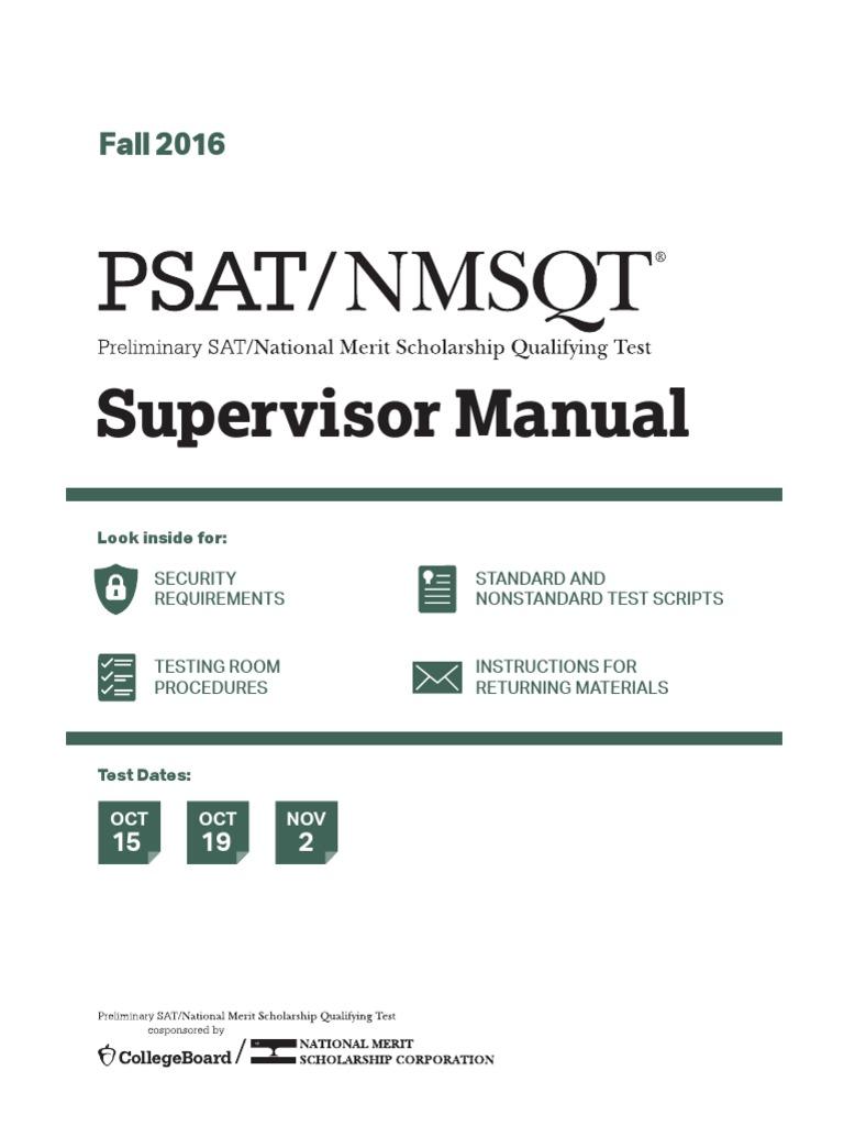 Supervisors Manual Psat Nmsqt | Psat/Nmsqt | Identity Document