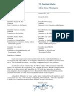 FBI Investigation Letter Hillary Clinton's Email Server