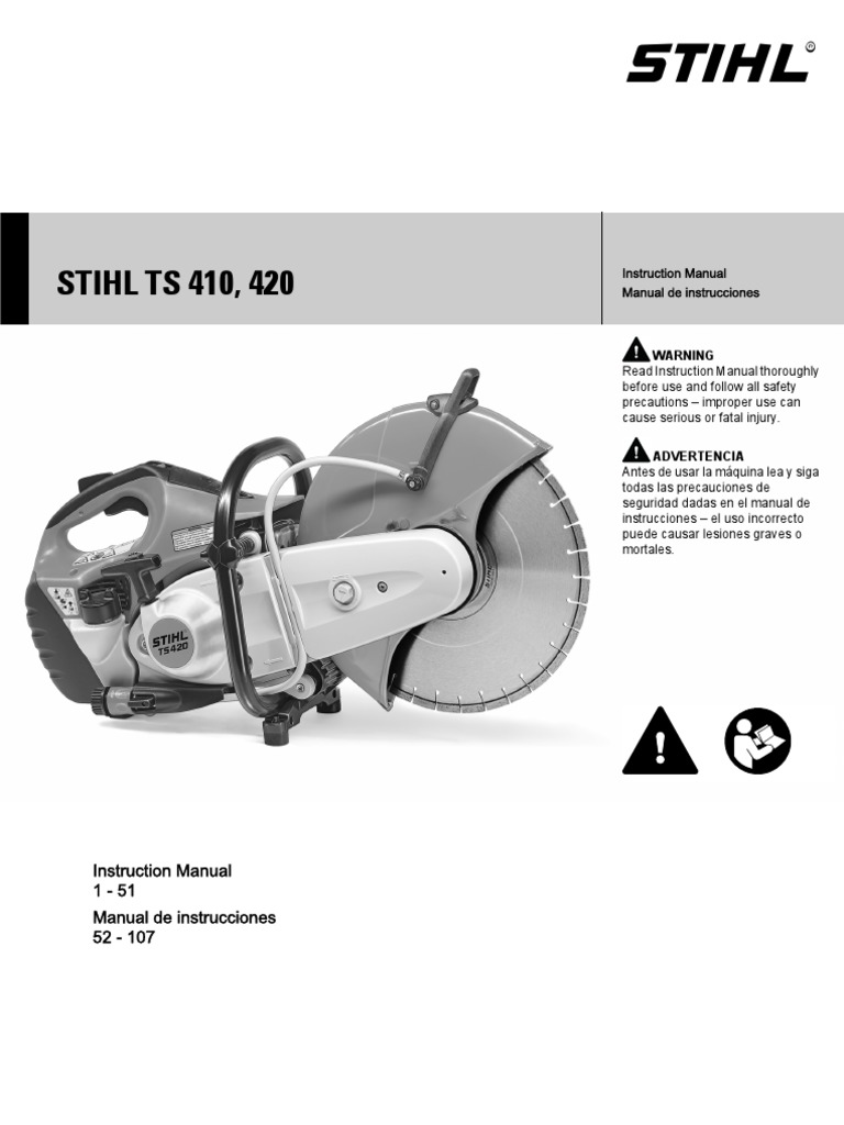 Stihl Ts 410 420 Owners Instruction Manual | Abrasive | Electrical Connector