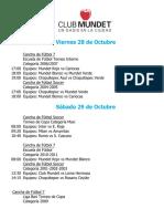 Actividades Fin de Semana 28, 29 y 30 de Octubre 2016