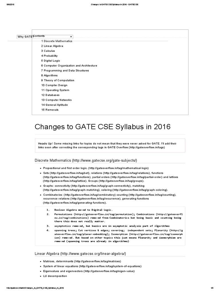 Changes to GATE CSE Syllabus in 2016 - GATECSE