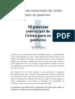 10 Palavras Essenciais de Cristo Para Os Pastores