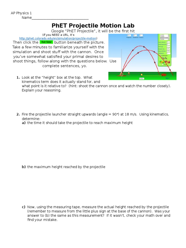 worksheet Projectile Motion Worksheet With Answers physics pre ap projectile motion lab report custom paper academic report