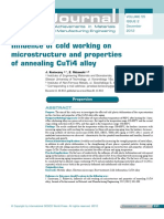 Influence of Cold Working on Microstructure and Properties of Annealing CuTi4 Alloy
