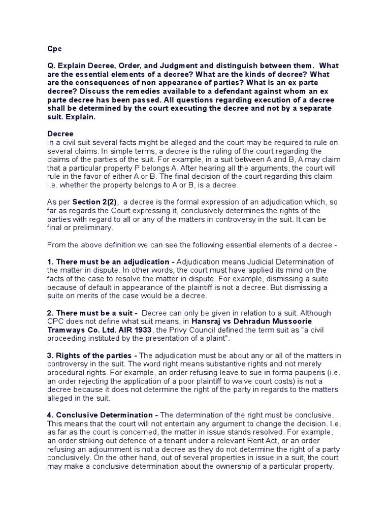 civil procedure code 1908 notes | res judicata | decree