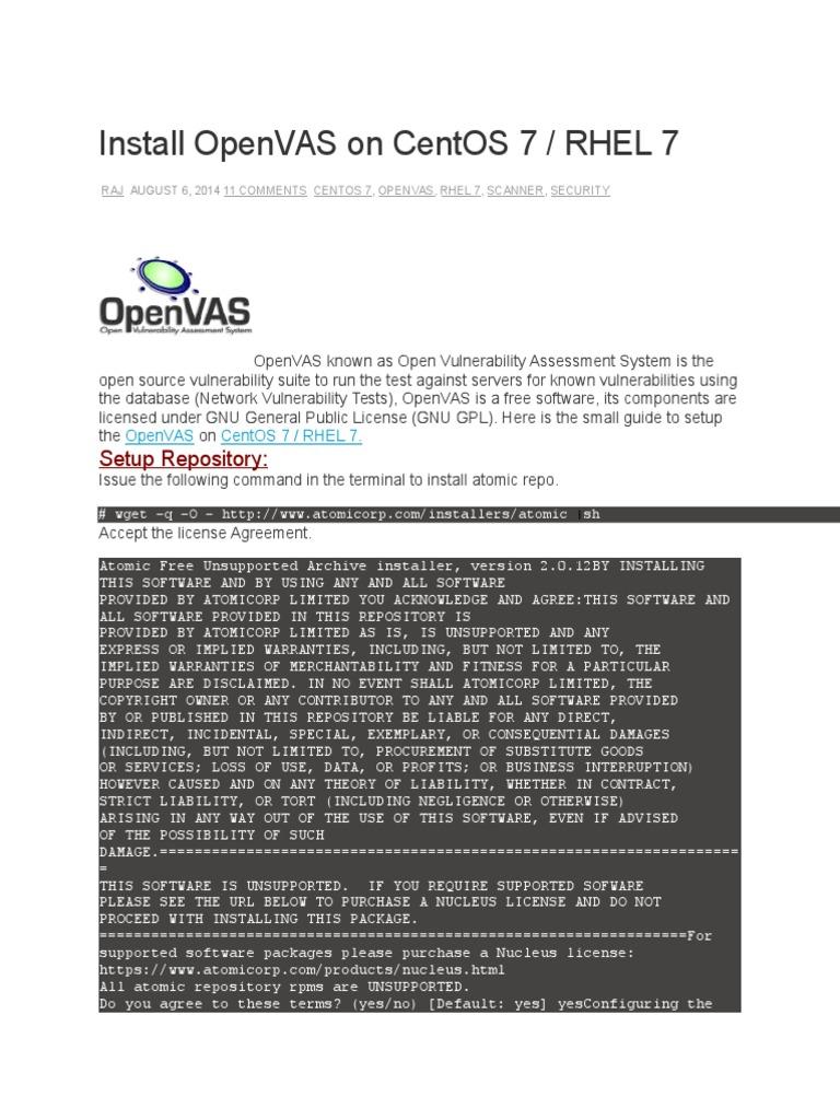 Install OpenVAS on CentOS 7 | Software libre | Certificado