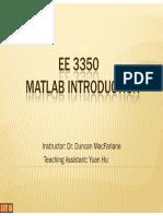 EE3350 Lecture MatlabIntro Yuan Hu