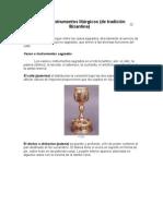 Vasos e Instrumentos litúrgicos con imagenes