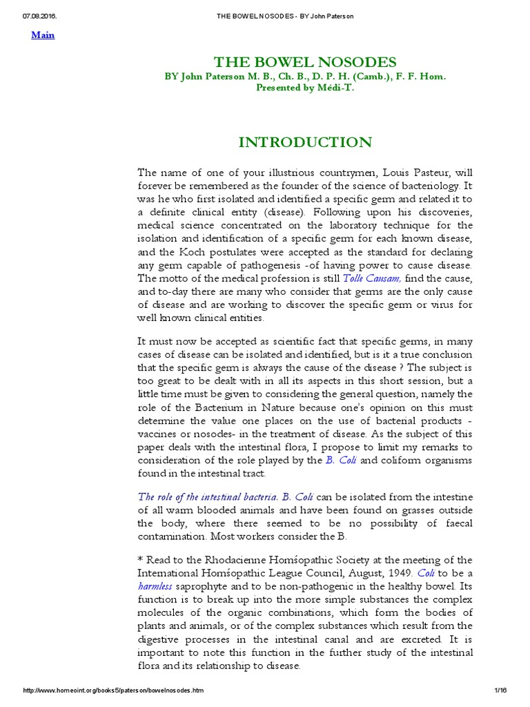 THE BOWEL NOSODES - BY John Paterson pdf   Homeopathy