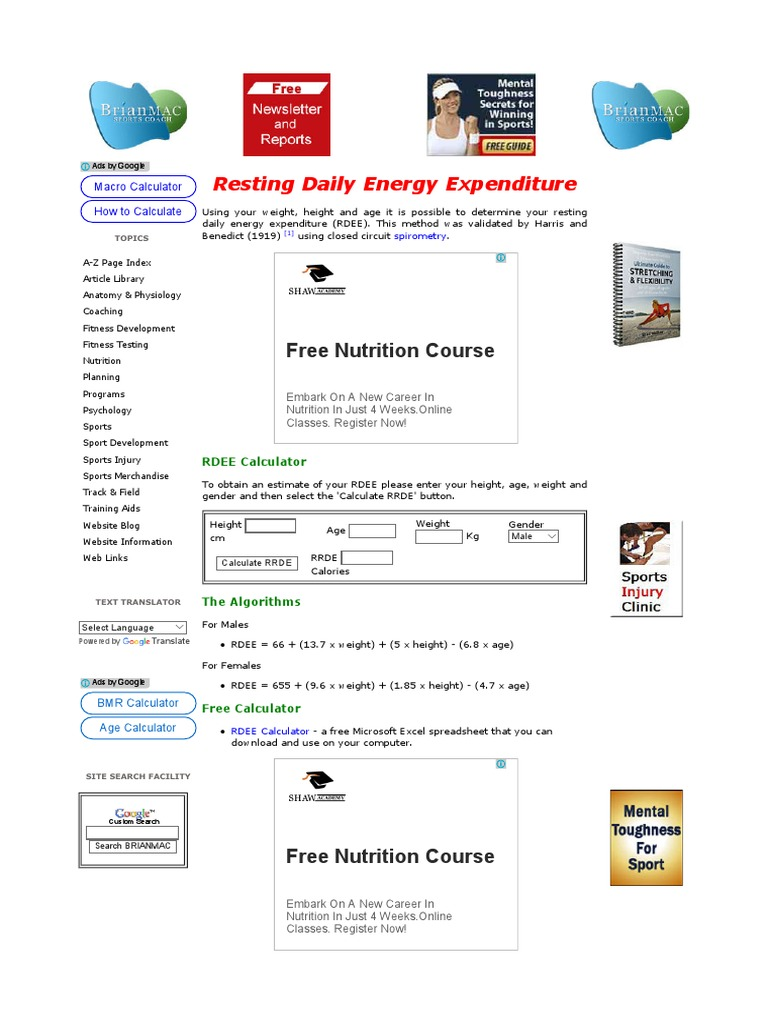 Resting Energy Daily Exposure | Energy Homeostasis | Websites