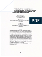 THE PREDICTIVE UTILITY OF DIBELS READING ASSESSMENT FOR READING COMPREHENSION AMONG THIRD GRADE ENGLISH LANGUAGE LEARNERS AND ENGLISH SPEAKING CHILDREN