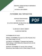 Nativity of the Holy Virgin Church - Newsletter - November, 2016