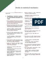 List of Textbooks in Statistical Mechanics