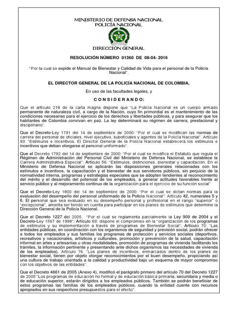 Manual de Bienestar y Calidad de Vida Para El Personal de La Policía ...