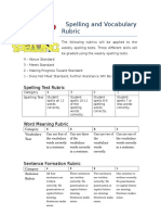 spelling rubric with sentence
