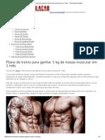Plano de Treino Para Ganhar 5 Kg de Massa Muscular Em 1 Mês