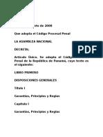 Codigo Procesal Penal Ley 63 de 2008.