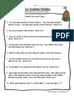 Syllables Worksheet 2