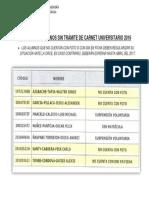 Relación de Alumnos Sin Trámite de Carnet Universitario 2016