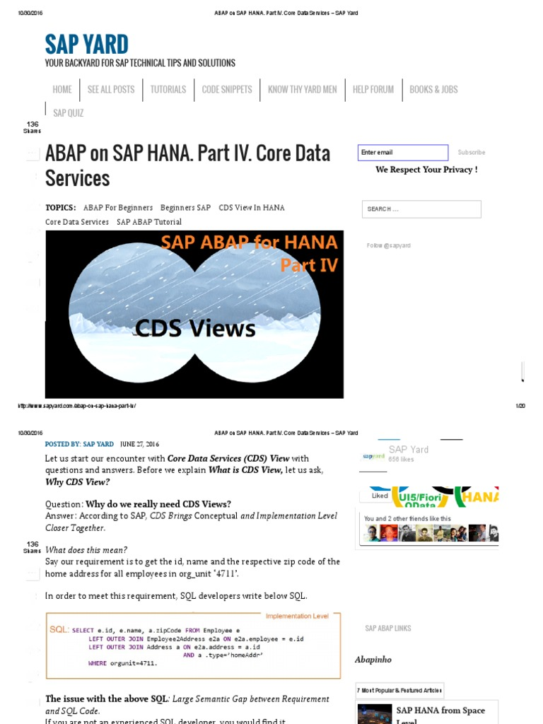 Abap on Sap Hana  Part IV | Databases | Sql