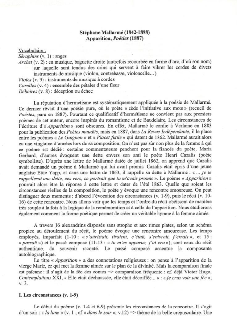 Mallarmé Lecture Linéaire Apparition Poésie