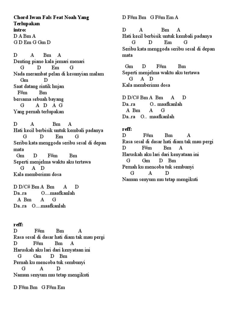 Denting piano lirik