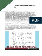 Rumus Cepat Belajar Matematika Untuk SD