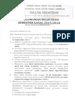 Pengumuman Registrasi Dan Pedoman Pengisian Krs Semester Gasal 2015 2016