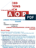 4. Linear Programming Using Excel Solver