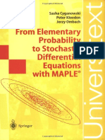 From Elementary Probability to Stochastic Equations With Maple 3540426663