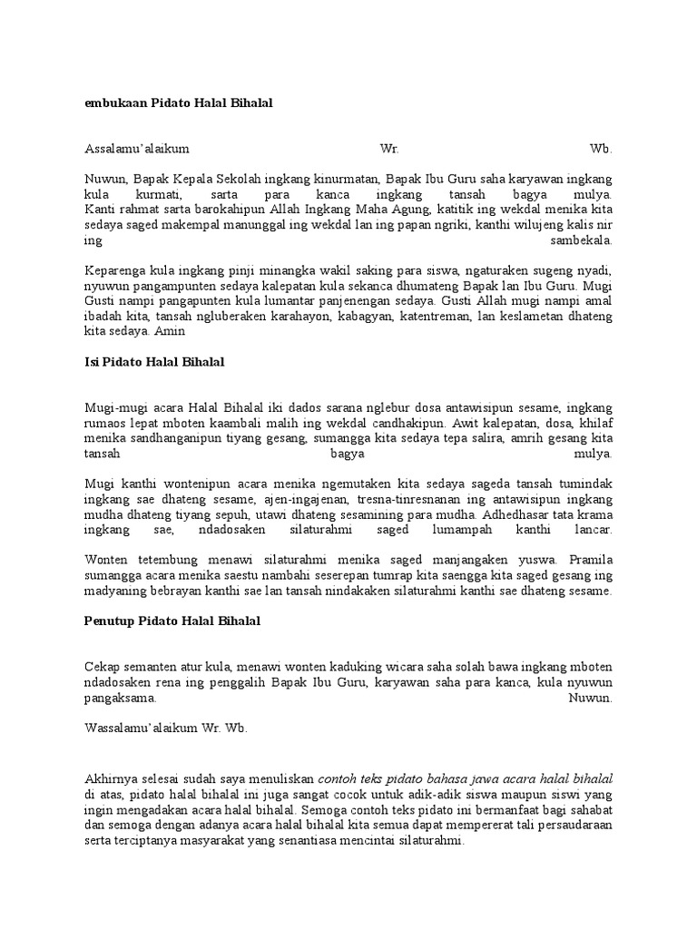 Pidato Bahasa Jawa Tentang Halal Bihalal Kumpulan Referensi Teks Pidato